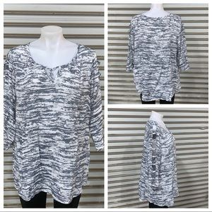 Fred David grey and white 3/4 sleeve top